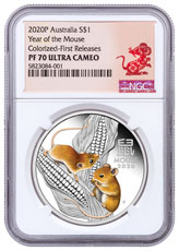 2020-P Australia Year of the Mouse - Lunar Series III 1 oz Silver Proof $1 Coin Colorized NGC PF70 UC FR Year of the Rat Label