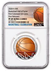2020-S Basketball Hall of Fame Commemorative Clad Half Dollar Colorized Proof Coin NGC PF69 UC FR Basketball Celebration Label
