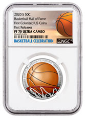 2020-S Basketball Hall of Fame Commemorative Clad Half Dollar Colorized Proof Coin NGC PF70 UC FR Basketball Celebration Label