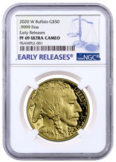 2020-W 1 oz Gold American Buffalo Proof $50 Coin NGC PF69 UC ER Blue Label