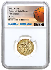 2020-W $5 Basketball Hall of Fame Gold Coin NGC MS69 FR