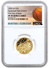 2020-W $5 Basketball Hall of Fame Gold Proof Coin NGC PF70 FDI