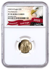 2020-W 1/10 oz Gold American Eagle Proof $5 Coin NGC PF70 UC FR Exclusive Eagle Label
