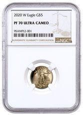 2020-W 1/10 oz Gold American Eagle Proof $5 Coin NGC PF70 UC Brown Label