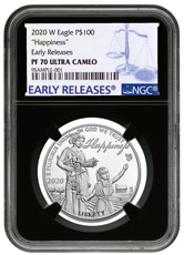 2020-W 1 oz Platinum American Eagle Pursuit of Happiness Proof $100 Coin NGC PF70 UC ER Black Core Holder
