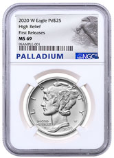 2020-W 1 oz High Relief Palladium Eagle Burnished $25 Coin NGC MS69 FR Palladium Eagle Label