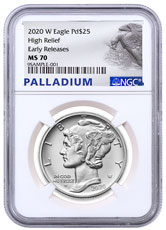 2020-W 1 oz High Relief Palladium Eagle Burnished $25 Coin NGC MS70 ER Palladium Eagle Label