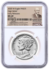 2020-W 1 oz High Relief Palladium Eagle Burnished $25 Coin NGC MS69 ER Weinman Label