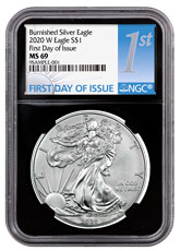 2020-W 1 oz Burnished American Silver Eagle $1 Coin NGC MS69 FDI Black Core Holder