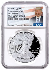 2020-W 1 oz Proof Silver American Eagle Congratulations Set NGC PF69 UC FR Trump Label
