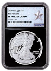 2020-W 1 oz Proof Silver American Eagle $1 Coin NGC PF70 UC FR Black Core Holder West Point Silver Star Label
