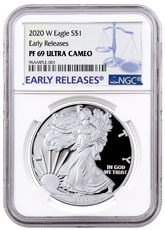 2020-W 1 oz Proof Silver American Eagle $1 Coin NGC PF69 UC ER Blue Label