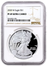 2020-W 1 oz Proof Silver American Eagle $1 Coin NGC PF69 UC