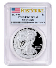 2020-W 1 oz Proof Silver American Eagle $1 Coin PCGS PR69 DCAM FS Flag Label