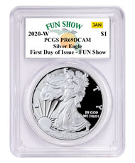 2020-W 1 oz Proof Silver American Eagle $1 Coin PCGS PR69 DCAM First Day - Fun Show