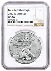2020-W 1 oz Burnished American Silver Eagle $1 Coin NGC MS70 Brown Label