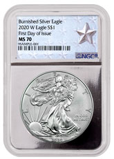 2020-W 1 oz Burnished American Silver Eagle $1 Coin NGC MS70 FDI Silver Core Holder West Point Silver Star Label