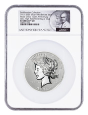 2021 Smithsonian Peace Dollar Ultra High Relief 10 oz Silver Reverse Proof Medal Scarce and Unique Coin Division NGC PF70 FDI De Francisci Label