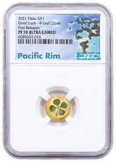 2021 Palau Four-Leaf Clover 1 g Gold Enameled Proof $1 Coin NGC PF70 UC FR COA Exclusive Pacific Rim Label