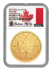 2021 Canada 2 oz Gold Maple Leaf Reverse Proof $200 Coin Scarce and Unique Coin Division NGC PF70 FDI Exclusive Taylor Signed Label