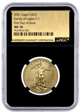 2021 1/2 oz Gold American Eagle T-1 $25 Coin NGC MS70 FDI Black Core Holder Exclusive Gold Foil Label