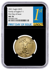 2021 1/2 oz Gold American Eagle T-1 $25 Coin NGC MS70 FDI Black Core Holder 1st Day Label