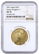 2021 1/2 oz Gold American Eagle T-1 $25 Coin NGC MS70 Brown Label