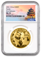 2021 China 30 g Gold Panda ¥500 Coin NGC MS70 FR White Core Holder Temple of Heaven Label