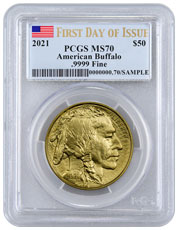 2021 1 oz Gold Buffalo $50 Coin PCGS MS70 FDI Flag Label