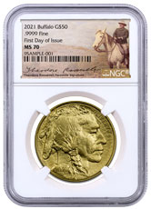 2021 1 oz Gold Buffalo $50 Coin NGC MS70 FDI Teddy Roosevelt Label