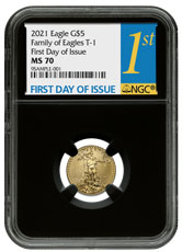 2021 1/10 oz Gold American Eagle T-1 $5 Coin NGC MS70 FDI Black Core Holder