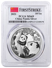 2021 China 30 g Silver Panda ¥10 Coin PCGS MS69 FS Clear Core Flag Label