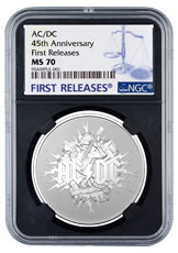 2021 Australia AC/DC 1 oz Silver Frosted $1 Coin NGC MS70 FR OGP Black Core Holder