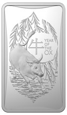 2021 Australia Lunar Year of the Ox - Frosted Ingot 1/2 oz Silver $1 Coin GEM BU in Mint Capsule & Box