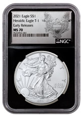 2021 American Silver Eagle T-1 NGC MS70 ER Exclusive Heraldic Eagle Label