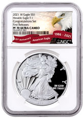 2021-W Proof American Silver Eagle T-1 Congratulations Set NGC PF70 UC FR Exclusive Eagle Red Banner Label