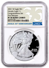 2021-W Proof American Silver Eagle T-1 Congratulations Set NGC PF70 UC FR 35th Anniversary Label