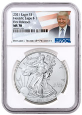 2021 American Silver Eagle T-1 NGC MS70 FR Trump Label