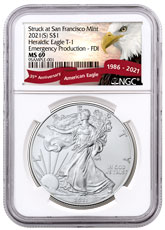 2021-(S) American Silver Eagle Emergency Production Struck at San Francisco Mint T-1 NGC MS69 FDI Exclusive Eagle Label