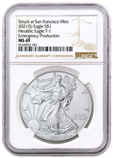 2021-(S) American Silver Eagle Emergency Production Struck at San Francisco Mint T-1 NGC MS69 Brown Label