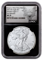 2021-(W) American Silver Eagle Struck at West Point Mint NGC MS70 FR Black Core Holder Exclusive Heraldic Eagle Label