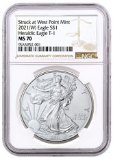 2021-(W) American Silver Eagle Struck at West Point Mint NGC MS70 Brown Label