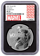 2021 Tuvalu Marvel Series - Wolverine 1 oz Silver $1 Coin NGC MS70 FR Black Core Holder Marvel Series Label