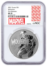 2021 Tuvalu Marvel Series - Wolverine 1 oz Silver $1 Coin NGC MS70 FR White Core Holder Marvel Series Label