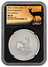 2021 South Africa 1 oz Silver Krugerrand R1 Coin NGC MS69 FR Black Core Holder Springbok Label