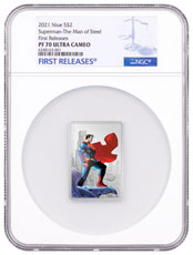 2021 Niue DC Comics Series - Superman - Man of Steel Rectangular Shaped 1 oz Silver Colorized Proof $2 Coin NGC PF70 FR