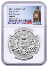 2021 Great Britain Royal Arms 1 oz Silver £2 Coin NGC MS69 FR Big Ben Label