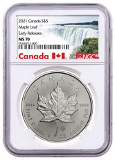 2021 Canada 1 oz Silver Maple Leaf $5 Coin NGC MS70 ER Exclusive Canada Label