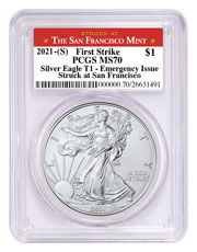 2021-(S) American Silver Eagle Emergency Production Struck at San Francisco Mint T-1 PCGS MS70 FS Struck at San Francisco Label