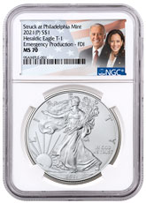 2021-(P) American Silver Eagle Struck at Philadelphia Mint - Emergency Production T-1 NGC MS70 FDI Biden/Harris Label